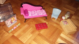 5 sets of Barbie furniture and more