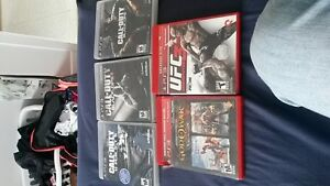 Call of Duty black ops 1, 2 and Ghost , Ufc 3 , God of war colle