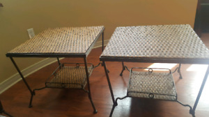 Iron and wicker Coffee tables set. 4 pieces