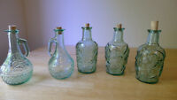 Green Embossed Glass Bottles (Fruit, Grapes & Flower Design)