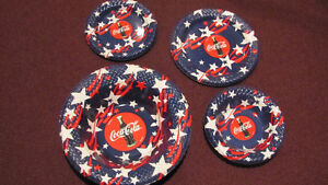 REDUCED - set of 4 Coca-Cola plasticware bowls and plates