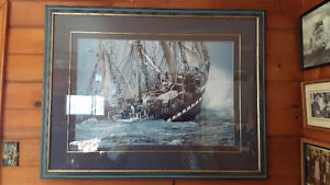 Tall ship framed picture