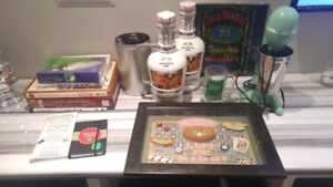 Bar glasses,  books, pictures, signs