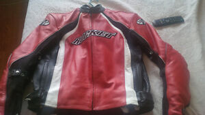 motorcycle leather jacket and helmet for sale
