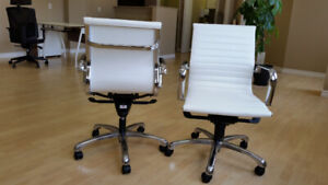 Office chairs – Modern, mid-back design, white leather, like new