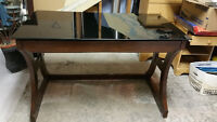 Wood and smoked glass top desk / table