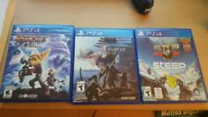 Divers Jeux PS4 - Monster Hunter World, Ratchet & Clank, Steep