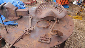 Antiques - tractor seat, well pump, plow