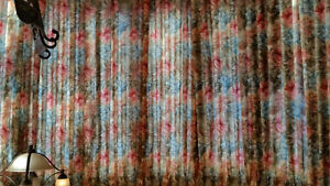 """Reduced. Curtains 16.5'x90"""" high - 2 panels, great fabric. lined"""