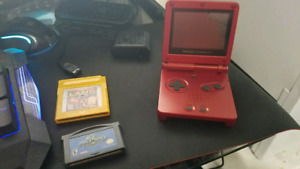 Red Gameboy Advance SP w/ 2 Games