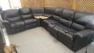 Leather sectional w 3 recliners