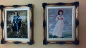 Ornately framed needlepoint of Pink Lady and Blue Boy
