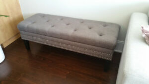 Upholstered grey bench. Excellent condition.