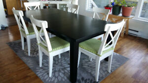 Dining Table (wood) and 6 chairs