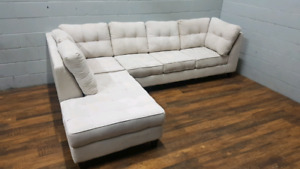 Free delivery: Microfibre sectional sofa with chaise