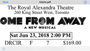 Come from Away (2) Tickets  June 23 2pm
