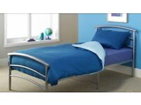 2 Single Beds Silver Metal