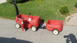 Step Two Red Wagon with trailer -red