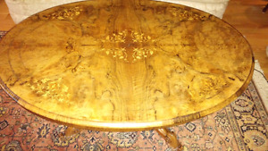 Victorian walnut and marquetry antique coffee table