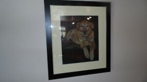 ORIGINAL PENCIL DRAWING ART HOME DECOR YELLOW LAB