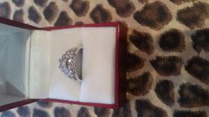 Bague de fiançailles double en or blanc 14k et diamants