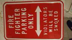 FIREFIGHTER PARKING SIGN