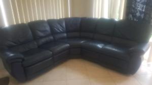 Genuine leather navy blue modular lounge