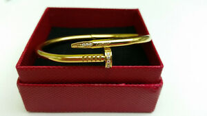 "Cartier ""Juste Un Clou"" Nail gold with crystals bracelet"