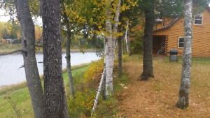 Water front log cabin (camp  cottage)on the SW Miramichi reduced