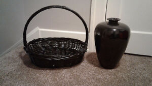 Nice black basket and vase