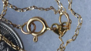 14K Solid Yellow Gold Dainty Chain Ncklace 20' Long