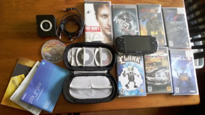 Sony PSP-3000 PlayStation portable games package with case -Used