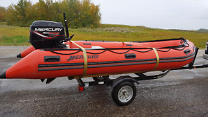 14' MERCURY INFLATABLE AND TRAILER