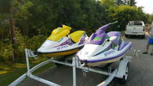 Two Seadoo's with Double Trailer