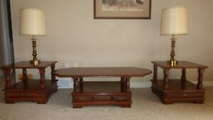 Coffee Table, End Tables and Lamps