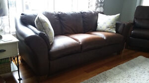 Ashley Furniture Genuine Leather Couch & Loveseat