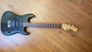 Mad axe black electric guitar working
