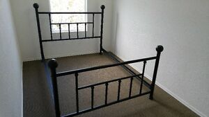 QUEEN SIZE HEAD BOARD FOOT BOARD AND CAST IRON RAILS