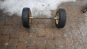 2 pneus durs pour chariot ou diable (grosses charges) + essieu