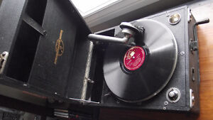 Antique Columbia Grafonola Gramophone Early Portable Record Play