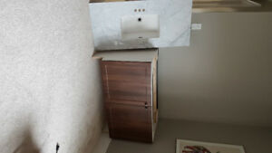 Bath Vanity Walnut 45 1/4 x 22    32 high Gre/Wh / faucet/light