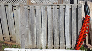 2 fence panels, small gate, and boards