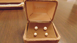2 Sets of Pearl Earrings & Pearl Necklace