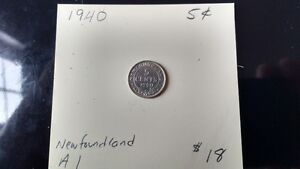 1940 Newfoundland 5 cent pieces