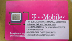 US Unlimited Txt,talk and DATA T-mobile prepaid