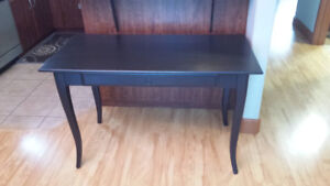 Black solid wood table/desk with one drawer