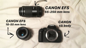 CANON t5i body + EFS 18-55 mm + EFS 55-250 mm zoom lens+ bag