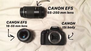 CANON t5i body + EFS 18-55 mm + EFS 55-250 mm zoom lens+ bag
