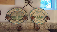 NAUTICAL THEME 2 DISH SET W/ WROUGHT IRON WALL MOUNT