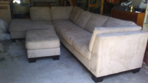 Beige microsuede sectional w/ ottoman